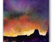 Desert Landscape ACEO original watercolor SUNSET yellow orange purple