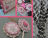 Pink and Black Cupcake Birthday Party Decorations Fully Assembled
