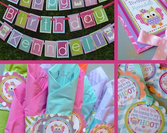 Girly Owl Birthday Party Decorations Fully Assembled Pink Lime Green Aqua Pink Orange