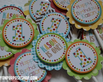 Polka Dot First Birthday Party Cupcake Toppers Fully Assembled Decorations
