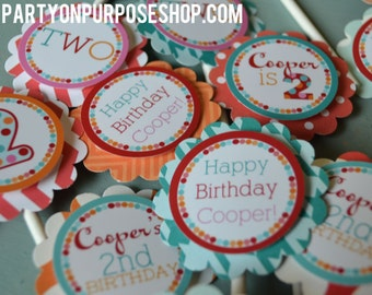 Polka Dot Birthday Party Cupcake Toppers Fully Assembled Decorations
