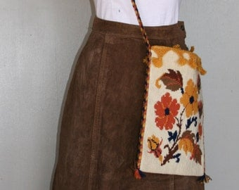 Brown Suede Leather Maxi Skirt - Bohemian Hippie Skirt - Fall Winter Skirt - 1980s Skirt - Winter Fall Suede Leather - Classic - 28 Waist