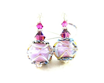Pink & Silver Earrings, Lampwork Earrings, Dangle Earrings, Simple Earrings, Violet Earrings, Lavender Earrings, Glass Earrings - Sweetness