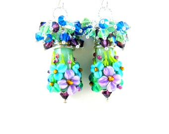 Blue Mint Green Purple Floral Earrings, Crystal Cluster Earrings, Nature Jewelry, Flower Dangle Earrings, Lampwork Glass Earrings, Summer