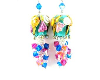 Blue Flower Earrings, Spring Jewelry, Nature Earrings, Colorful Floral Jewelry, Aqua Pink Orange Glass Earrings, Crystal Earrings Belladonna