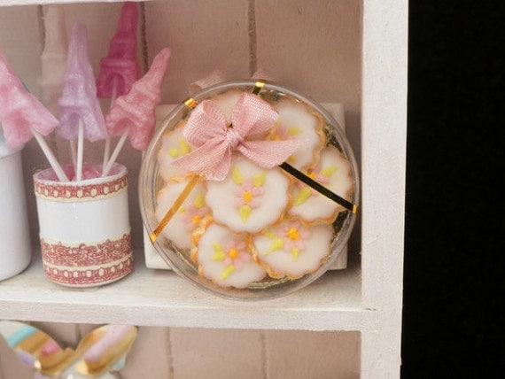 Pink Floral Garden Cookies Gift Box - Miniature Food in 12th Scale