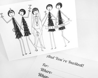 Hens party 1920s theme flapper invitations // art deco Editable PDF