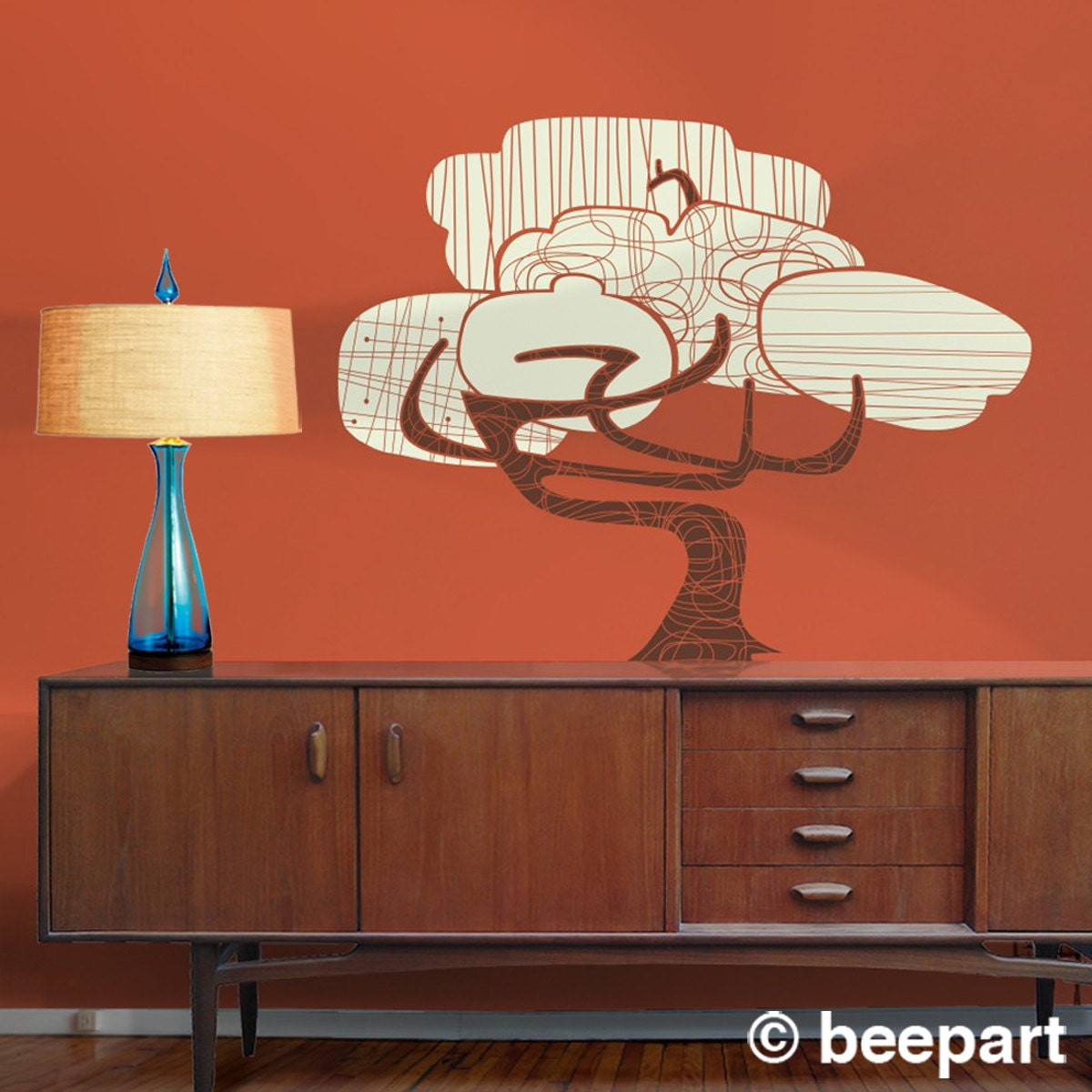 tree vinyl wall decal mid century modern sticker art mod. Black Bedroom Furniture Sets. Home Design Ideas