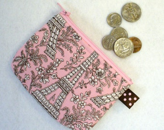Paris Eiffel Tower Womens Fabric Mini Coin Purse Zipper Change Purse Handmade Pink White Brown MTO
