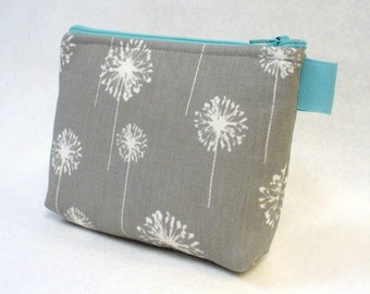 Turquoise Gray White Dandelion Fabric Bridesmaid Pouch Cosmetic Bag Zipper Pouch Makeup Bag Gadget Pouch MTO