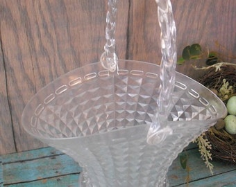 vintage Flower girl Basket Wedding .. Clear diamond cut plastic made to look like glass SWEET