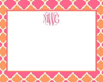 Pink and Orange Quatrefoil Stationery, Notecards, Invitation Set