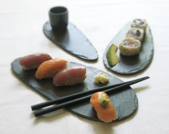 Set of 3 Sushi, Cheese, Pastry & Fruit Salvaged Slate ALA PLATTERS - Wedding Registry, Housewarming, Host, Birthday Gift