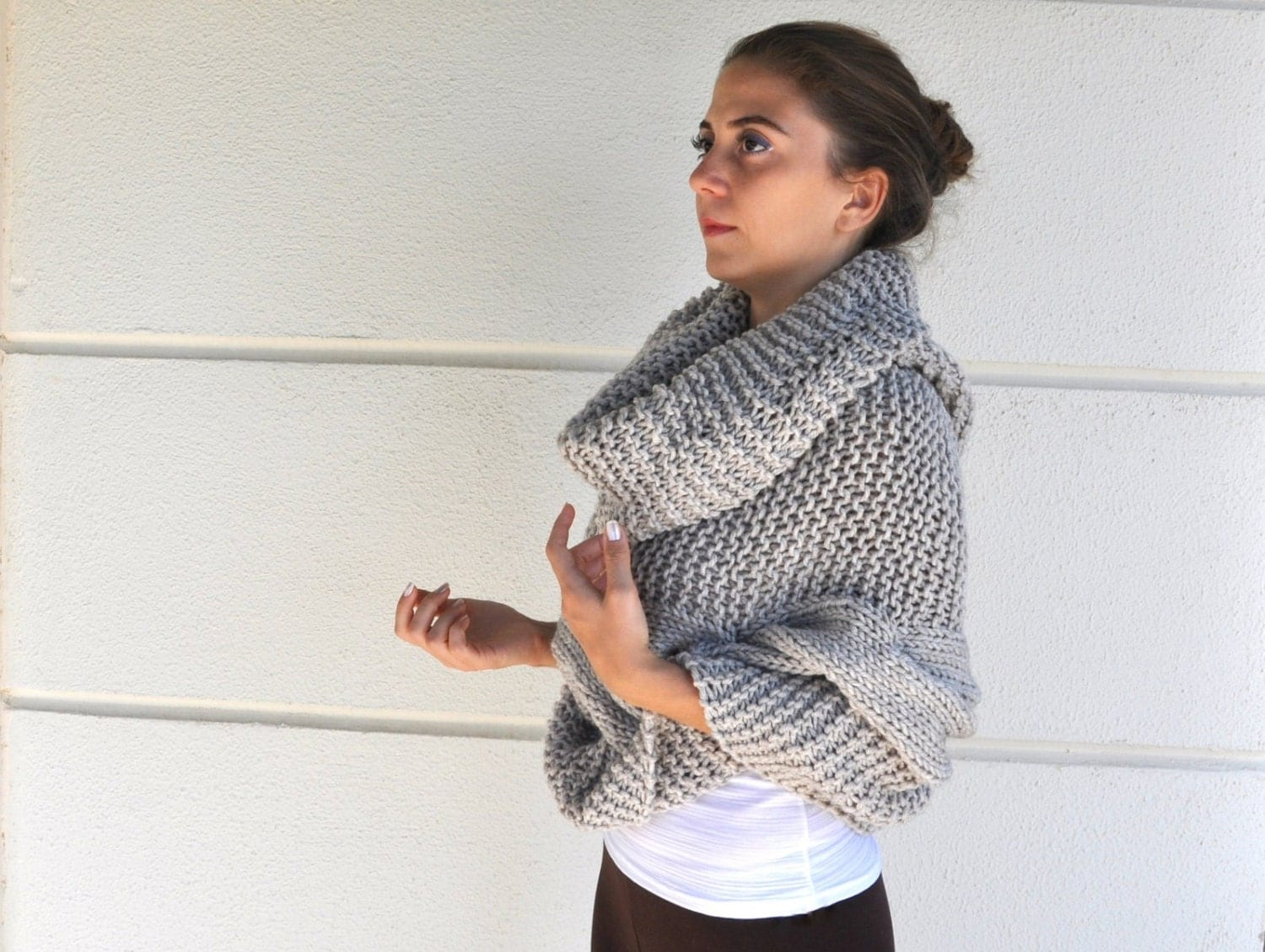 Poncho Cape Sweater Cardigan Chunky Wrap Sweater Hand Knit