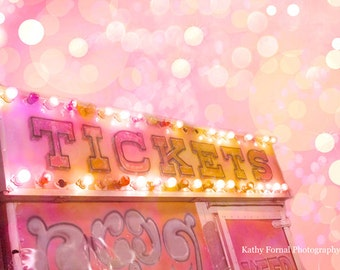Carnival Prints, Carnival Ticket Booth Photo, Pink Carnival Wall Art Prints, Baby Girl Nursery Decor, Nursery Room Decor, Carnival Photos