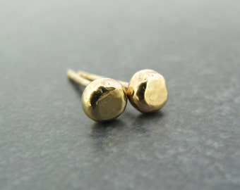 Solid 14k Gold Studs - Recycled Solid 14 Karat Gold Hammered Post Earrings