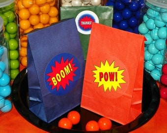 Superhero Goody Bags w/Sticker Seals. Superhero Birthday. Superhero Party Favor Bags. Superhero Loot Bags. Pick Size. Set of 10.