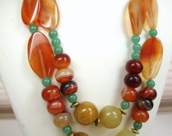 Double Strand Necklace with Amber Honey Agate and Green Adventurine
