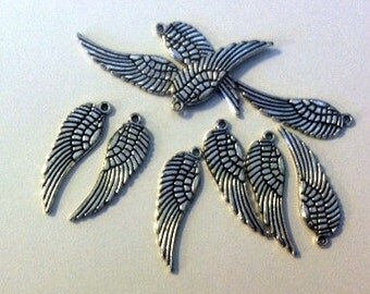 Wing Charm Silver 11 Wing Charms in Antiqued Silver