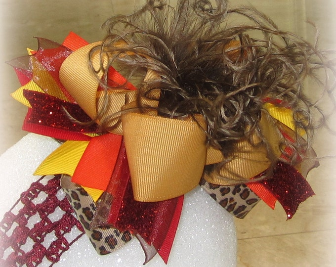 Boutique hair Bow, Over the Top Hairbow, OTT Hair Bows, Boutique Hairbows, Fall Hair Bow, Fall hairbow, Large Hairbow, Brown hair Bows