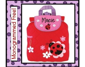36 Fonts- Small Toddler Girl's LADYBUG Quilted Backpack- Preschool, Day Care, Diaper Bag Personalized FREE