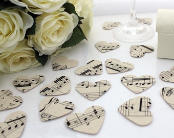 Paper heart wedding confetti- 200 vintage sheet music die cut punched hearts 3.5cm by 3cm- Great romantic Valentines table decoration