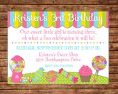 Girl Candyland Candy Sweet Shop Lollipop Party Birthday Invitation - DIGITAL FILE