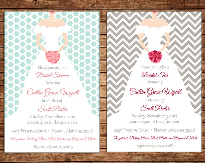 Bride Bridal Shower Wedding Dress Tea Chevron Modern Invitation -  DIGITAL FILE