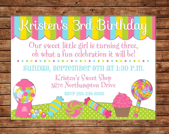 Girl Invitation Candy Sweet Shop Birthday Party - Can personalize colors /wording - Printable File or Printed Cards