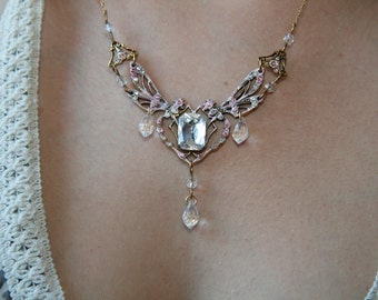 Paris France Dragonflies Fireflies and Fairytale Pink or Dazzling Clear Crystal  Necklace