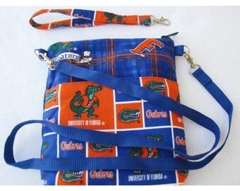 University of Florida Cross Body Bag, Gators Wristlet Clutch, Zippered Top, Zippered Inside Pocket