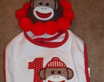 Sock Monkey Bib with matching Birthday Hat