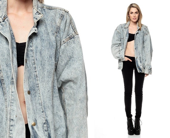 Oversized Denim Jacket 80s ACID WASH Jean Faded Light Wash
