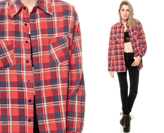 Oversized Flannel Shirt Navy Blue Red Plaid 90s Grunge