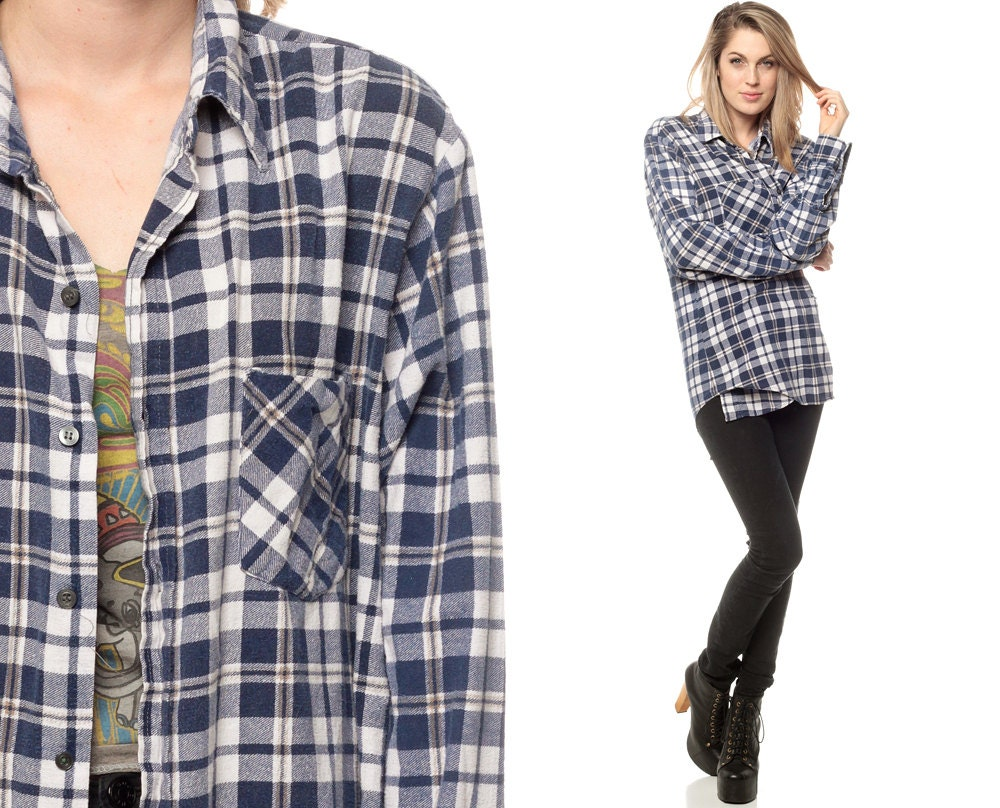 90s grunge flannel plaid shirt oversize navy blue white for Navy blue plaid shirt