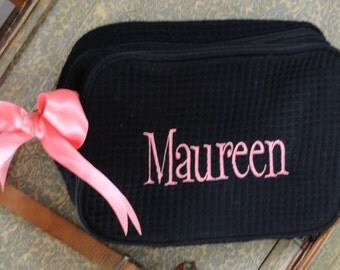 Monogrammed 2 Compartment Cosmetic Bags for Bridesmaids, Set of 6