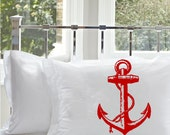 2 Two Red Ship's Anchor NAUTICAL PILLOWCASE pillow covers