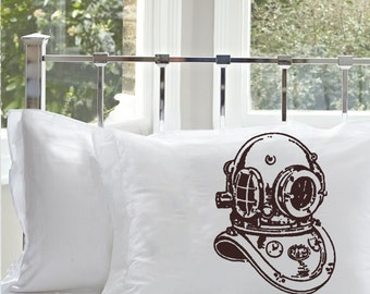 Old Vintage Deep Sea Diver Helmet Diver's brass sailor sailing PILLOWCASE sail Pillow case decor beach house room master bedroom bedding