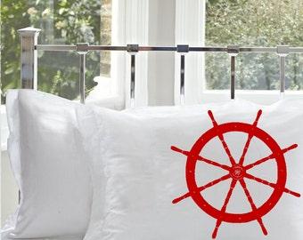 Two (2) Red Ships Wheel White Nautical Pillowcase pillow cover bedding