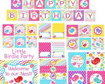 Digital Birdie Party Package, Birdie Party Decoration,  Birdie Birthday Party, Bird Party,  PDF Printable INSTANT DOWNLOAD