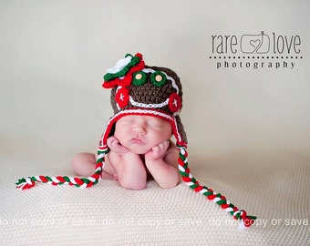 Baby Gingerbread Man Hat, Baby Christmas Hat, Newborn Christmas Hat, Newborn to 24 mnths, Crochet Baby Girl hat, Baby Girl Hats