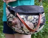 Vintage Floral Multi-Strap Tote / Messenger Bag