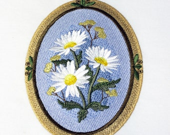 Floral Cameos (9) Machine Embroidered Quilt Blocks