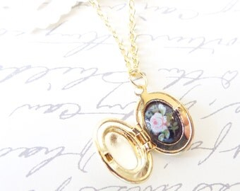 Tiny Gold Vintage Locket - Oval Locket - Hidden Treasure - Treasure Inside - Rose Cameo - Limoges