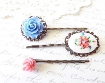 Emmaline - Flower Hair Pin Set - Whimsical - Bridal - Bridesmaid