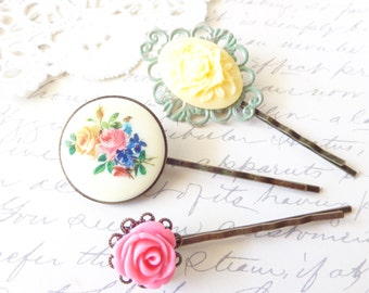 Garden Splendor - Flower Hair Pin Set - Flower Bobby Pins - Vintage Floral Limoges - Hair Accessories