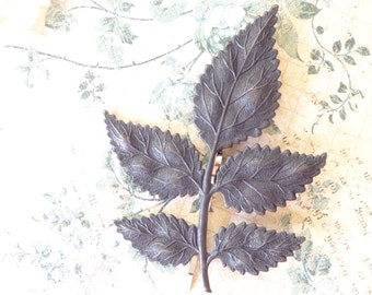 Leaf Branch Hair Pin - Satin Black Finish - Woodland Collection - Whimsical - Nature - Bridal