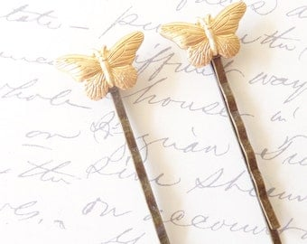 Golden Butterfly Hair Pins - Bobby Pin Set - Woodland - Bridal