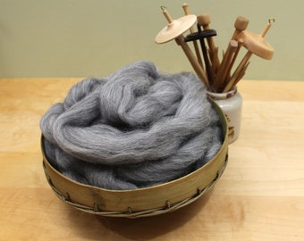 Icelandic Wool - Natural Gray - Undyed Roving for Spinning or Felting (8 oz)