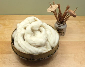Blue Face Leicester (BFL) Wool Roving (Combed Top) - Undyed Spinning or Felting Fiber (8oz)